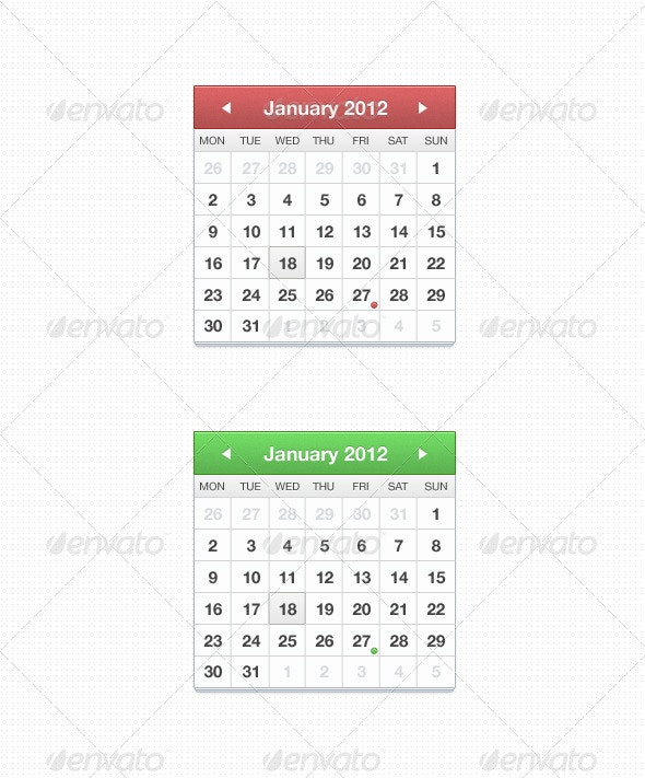 Stacked Calendar - Miscellaneous Web Elements