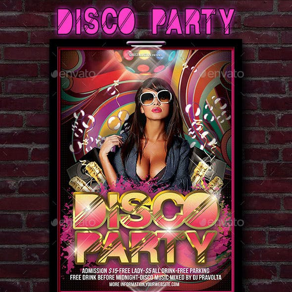 Disco Music Poster Flyer Template