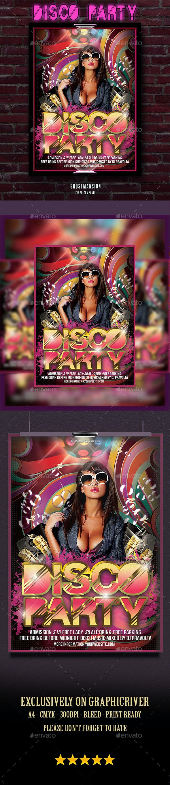 Disco Music Poster Flyer Template - Clubs & Parties Events