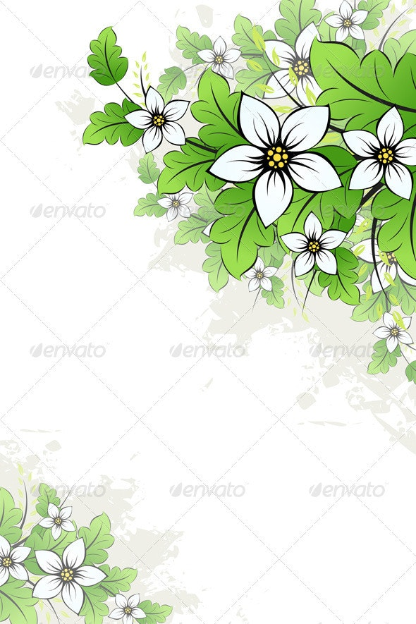 Grunge Floral Background - Flowers & Plants Nature