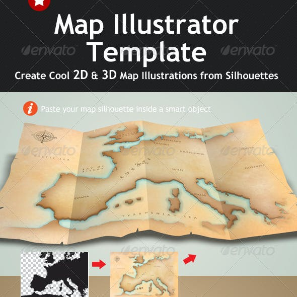 Map Illustrator & Mock Up Template
