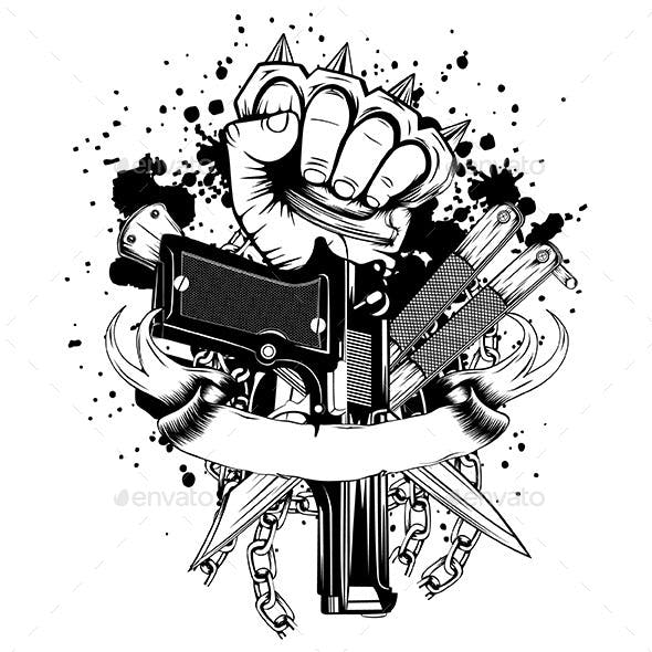 Hand with Knuckledusters and Weapons