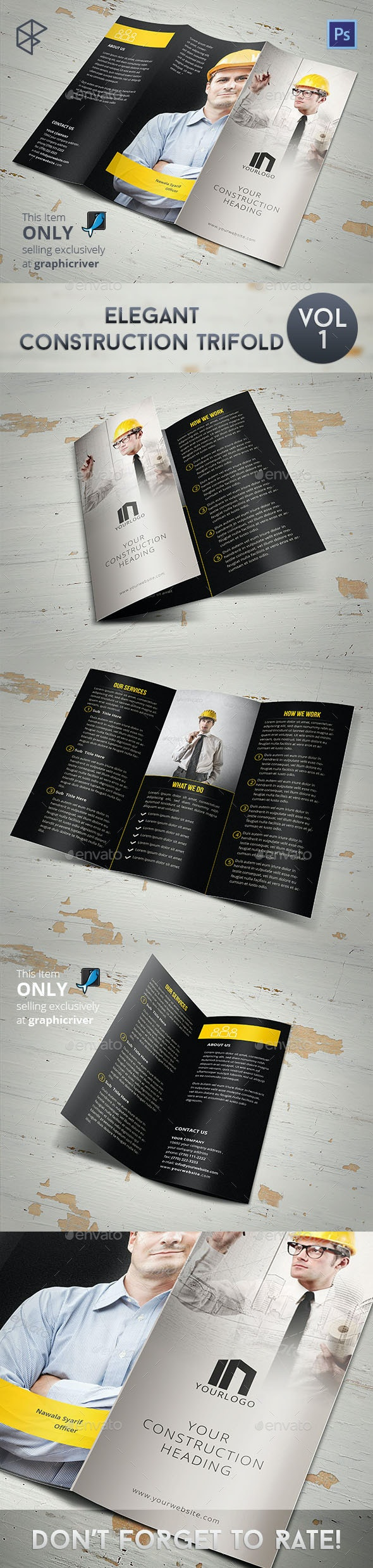 Elegant Construction Trifold - Corporate Brochures