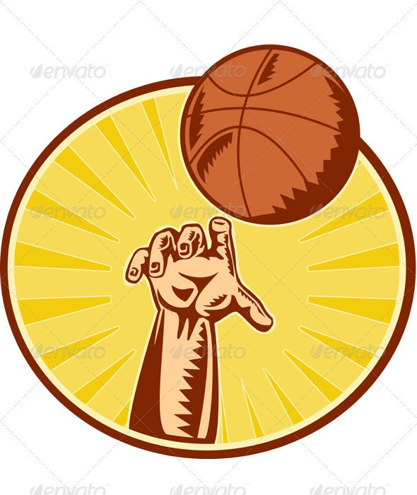 Basketball Player Hand Catching Thowing Ball - Sports/Activity Conceptual