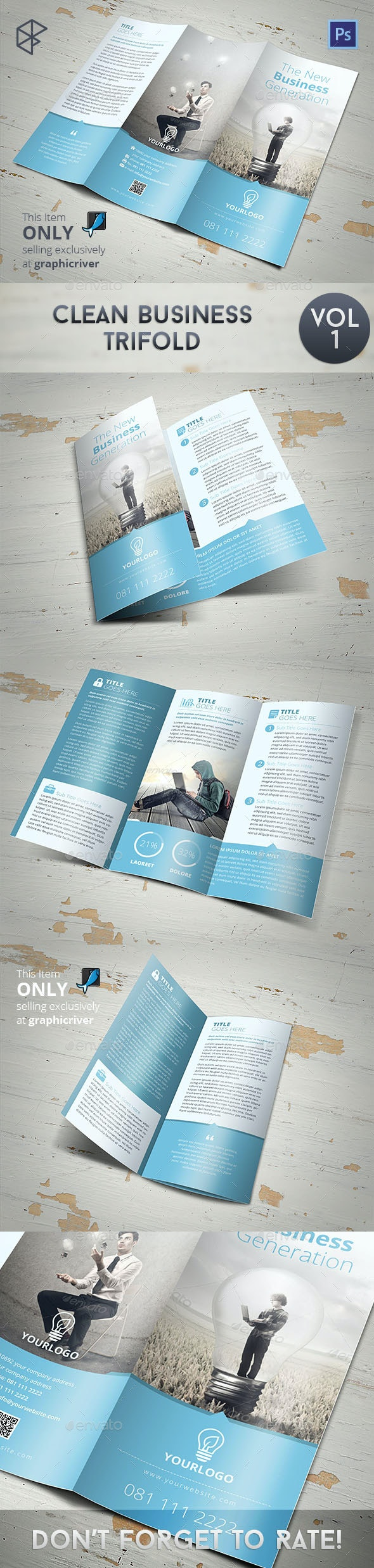 Clean Business Trifold - Corporate Brochures