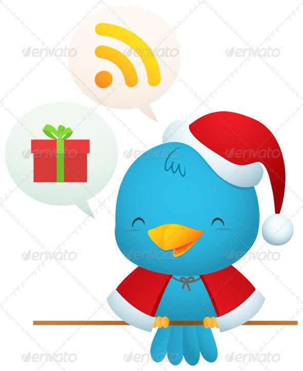 Little Blue Bird with Santa uniform - Animals Illustrations