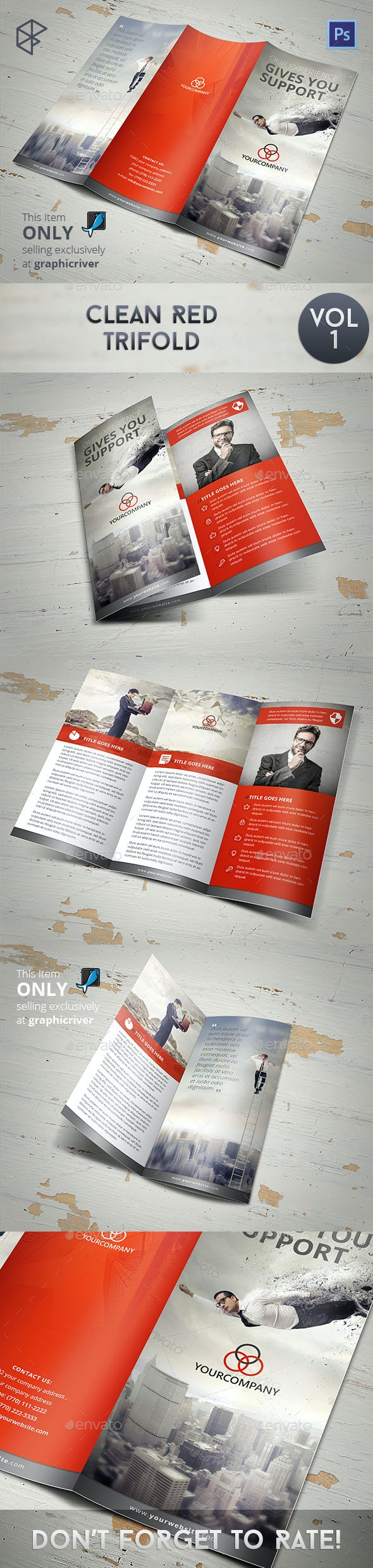 Clean Red Trifold - Corporate Brochures