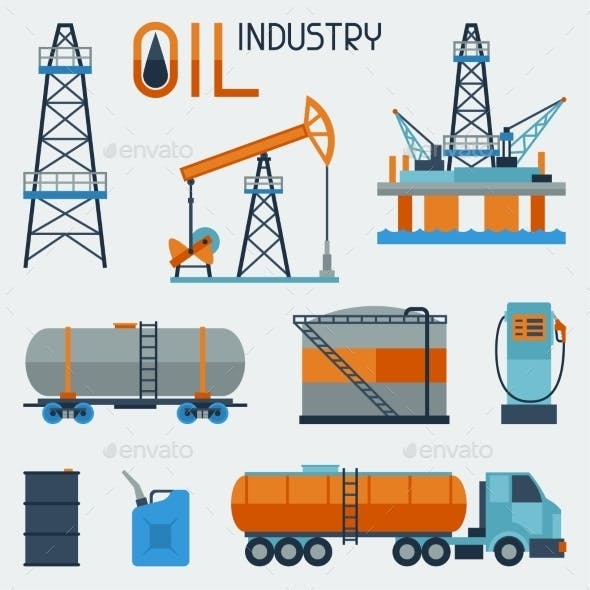 Industrial Set of Oil and Petrol Icons