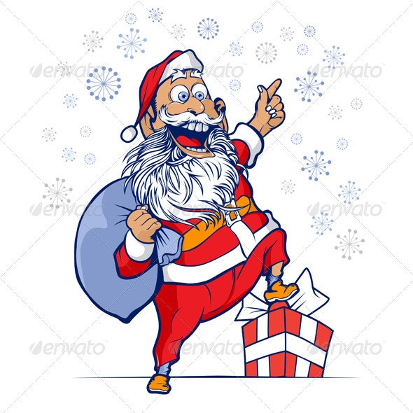 Cute Santa With Bag Of Gifts - People Characters