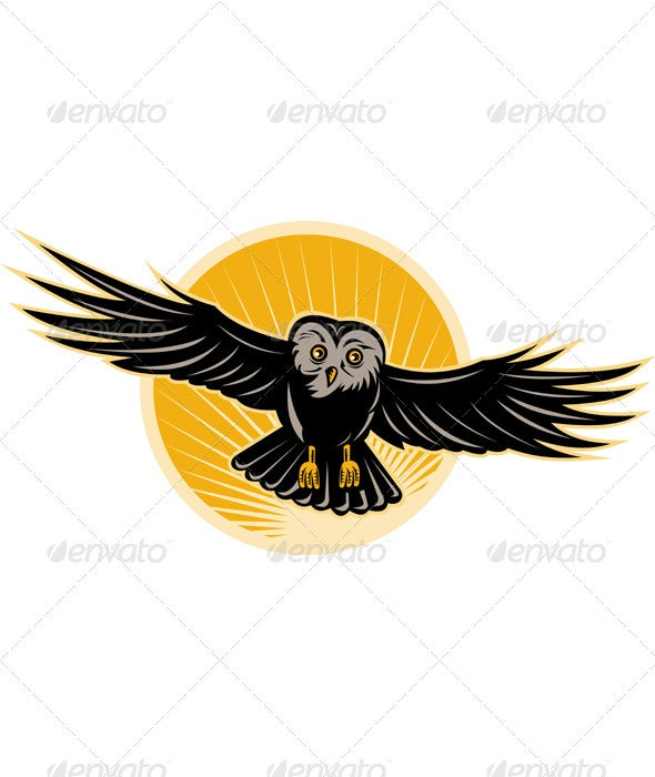 Owl Flying Retro Woodcut Style - Animals Characters