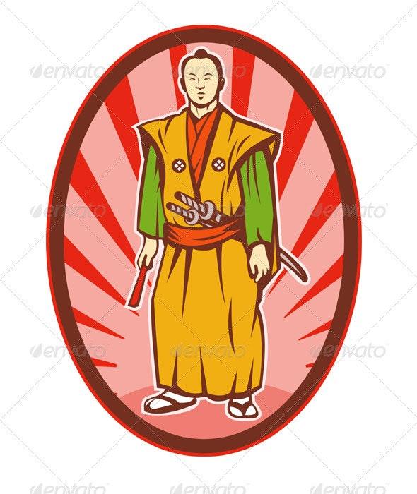 Samurai Warrior With Katana Sword Standing - People Characters
