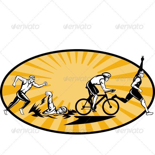 Triathlon Athlete Swim Run Bike Woodcut
