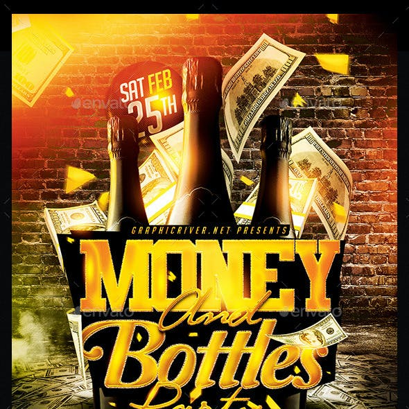 Money And Bottles Party | Flyer Template PSD