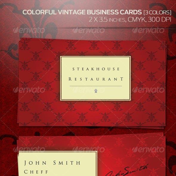 Colorful Vintage Business Cards (3 Colors)