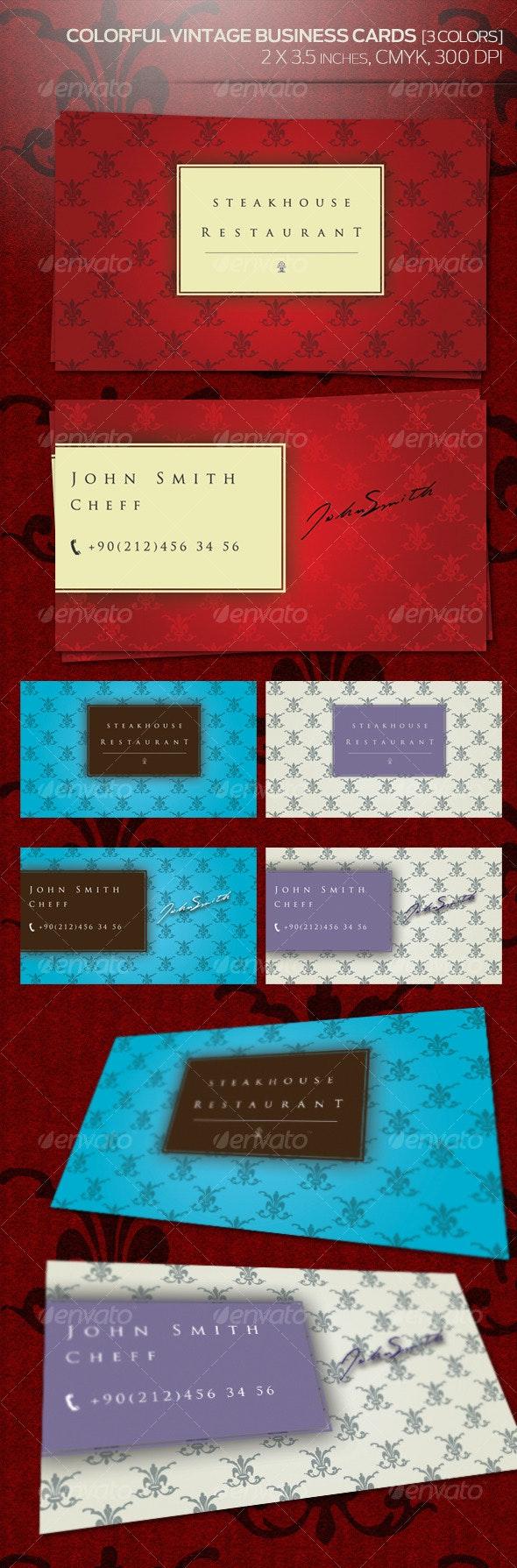 Colorful Vintage Business Cards (3 Colors) - Retro/Vintage Business Cards