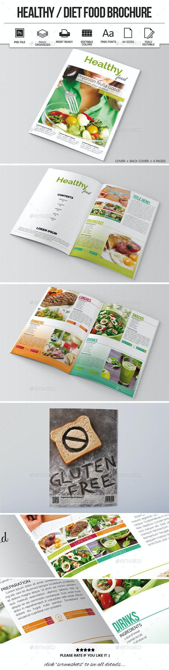 Healthy / Diet Food Brochure Template - Informational Brochures