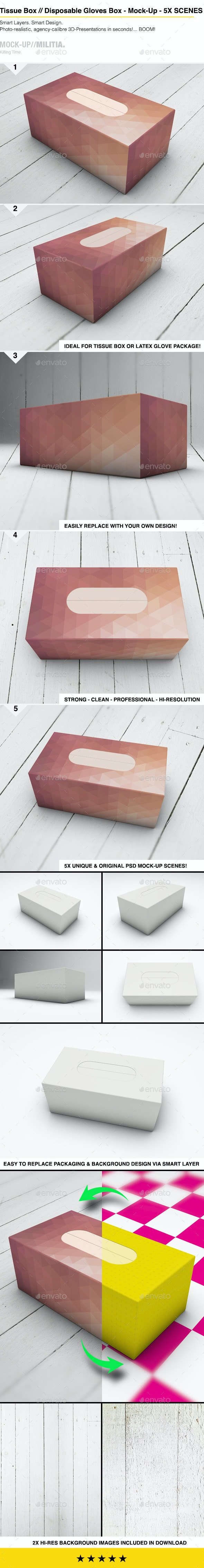 Tissue Box   Paper   Cardboard Box Mock-Up - Miscellaneous Packaging
