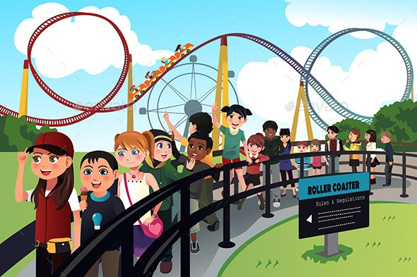 Children Waiting in Line for a Roller Coaster Ride - People Characters