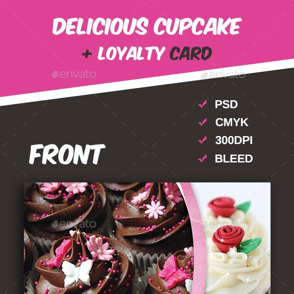 Delicious Cupcake Menu Flyer + Loyalty Card