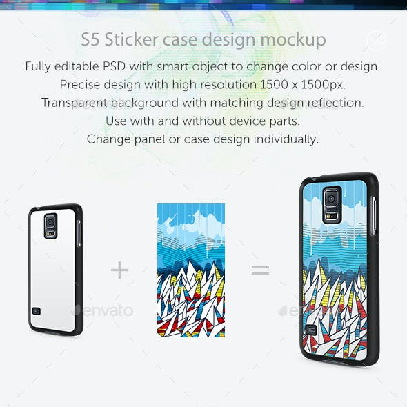 S5 Sticker Case Design Mockup