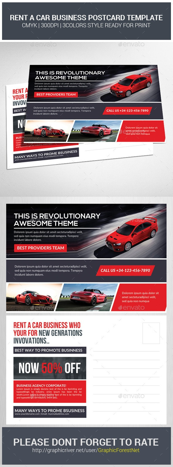 Rent A Car Business Postcard Template - Cards & Invites Print Templates
