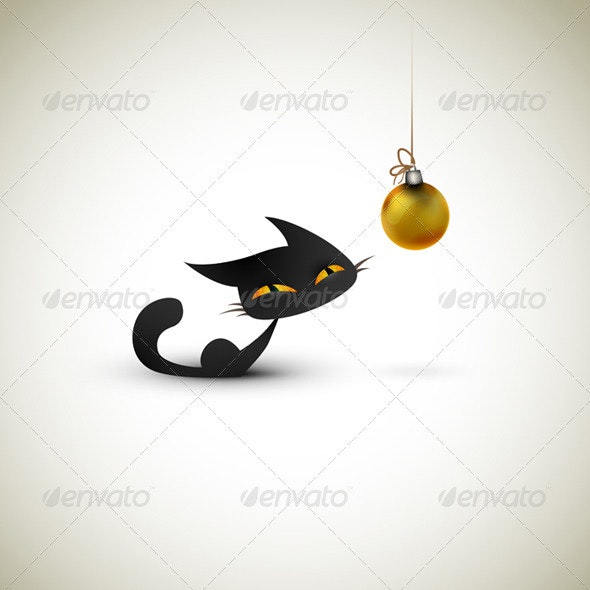 Little Cat Excited About Christmas Globe - Christmas Seasons/Holidays