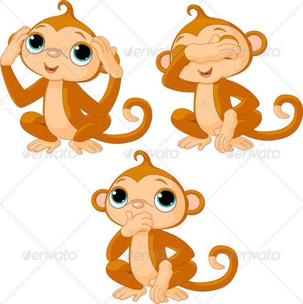 Three little monkeys - Animals Characters