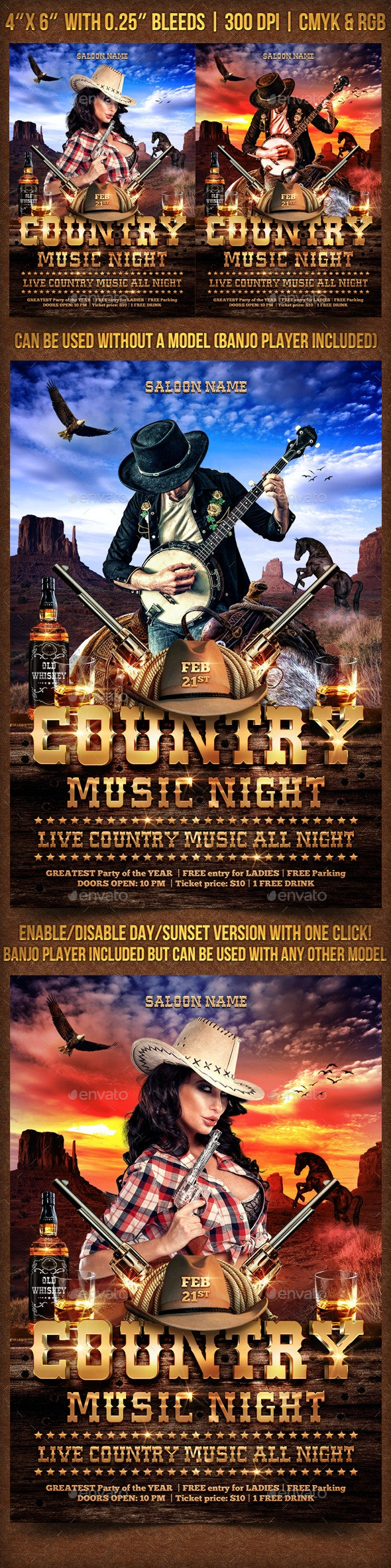 Country Music Night Fyer Template - Clubs & Parties Events