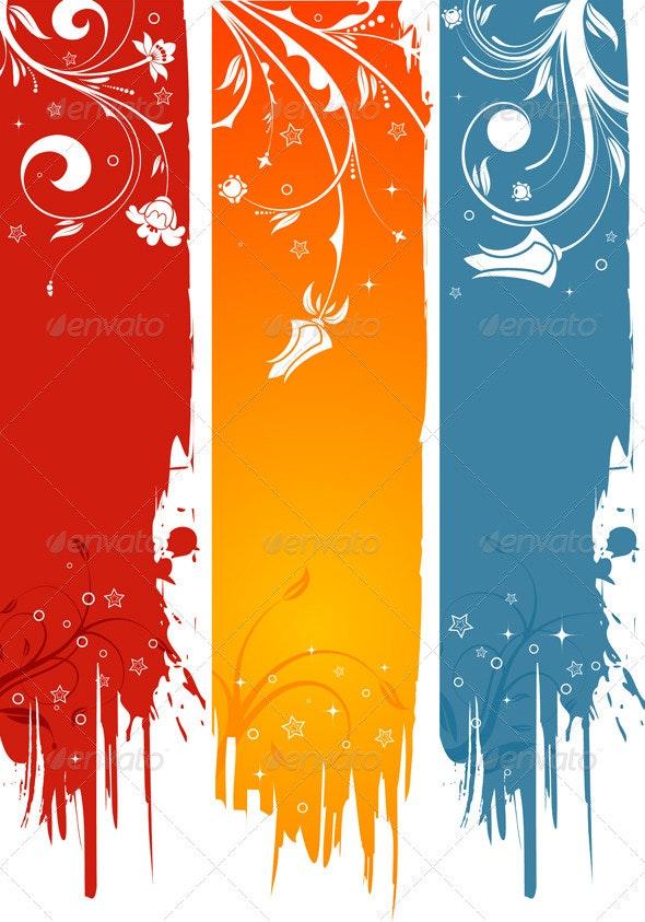 Grunge Flower Background - Borders Decorative