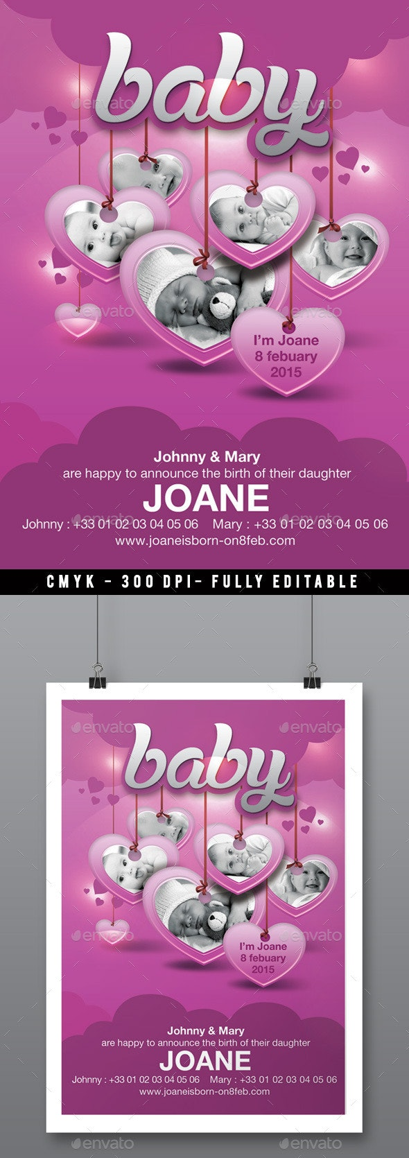 Baby Birth Announcement Flyer - Birthday Greeting Cards