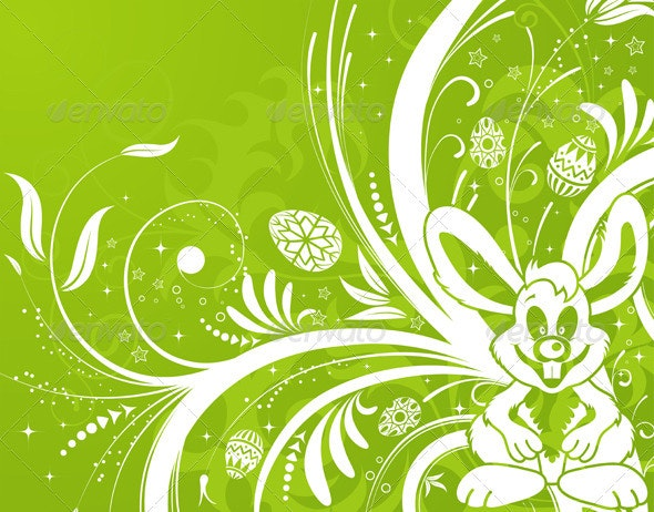 Easter background with eggs, rabbit and flower - Miscellaneous Seasons/Holidays