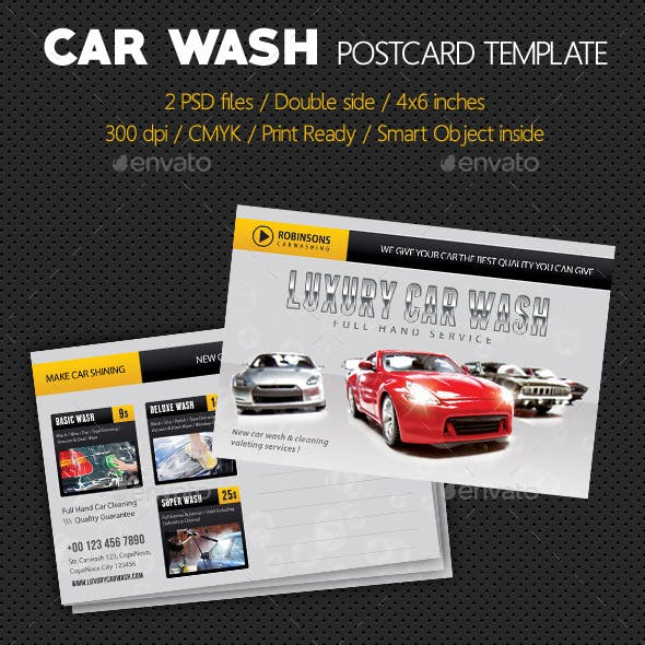 Car Wash Postcard Template V02