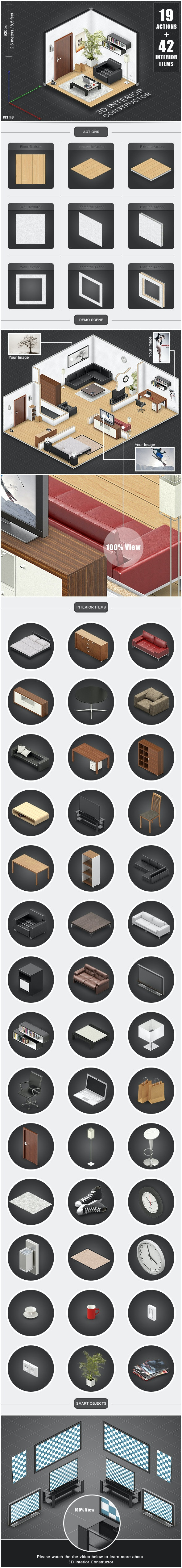 3D Interior Constructor - Actions Photoshop