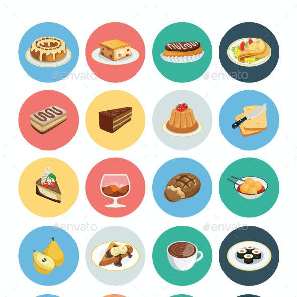 100 Food Flat Icons
