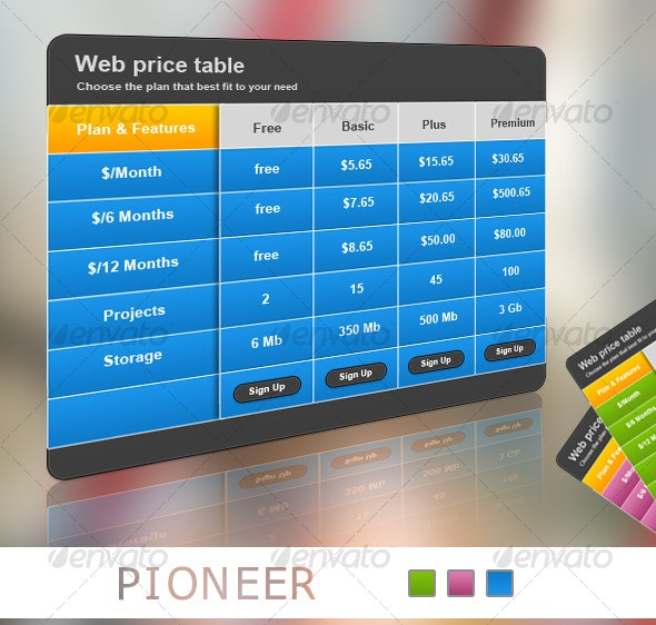 Pioneer Web Pricing Table - Web Elements