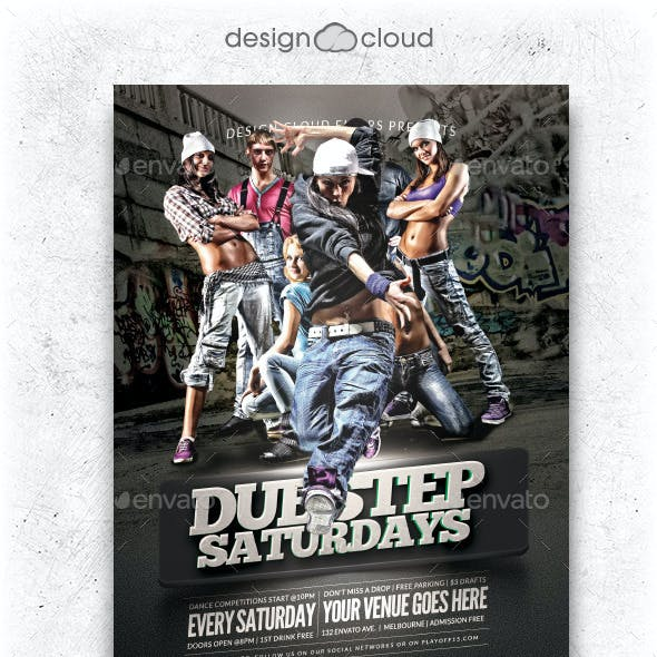 Hip Hop Dubstep Dance Party Flyer Template