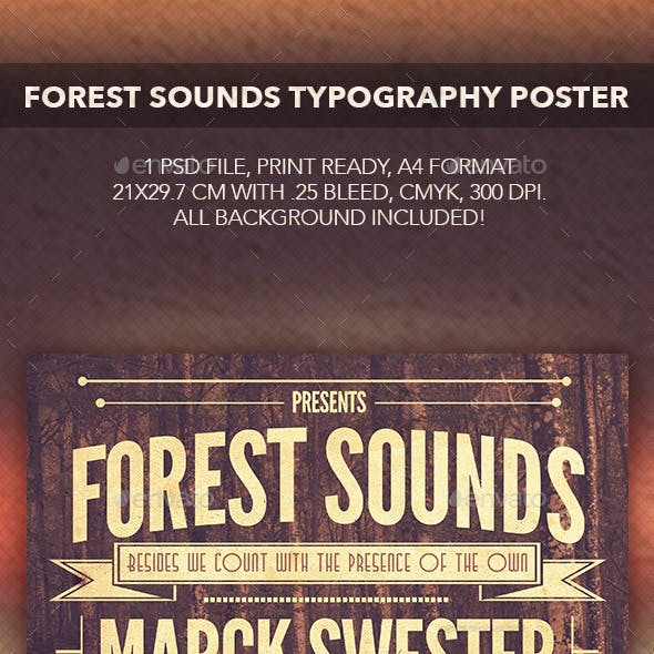 Forest Sounds Typography Flyer/Poster