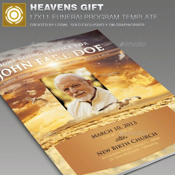 Heavens Gift Funeral Program Template 004