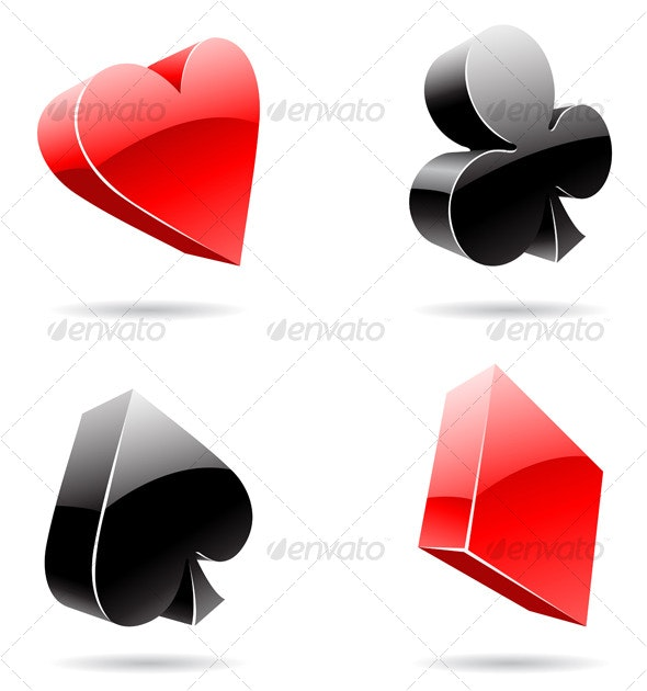 3d Card Suits - Abstract Icons