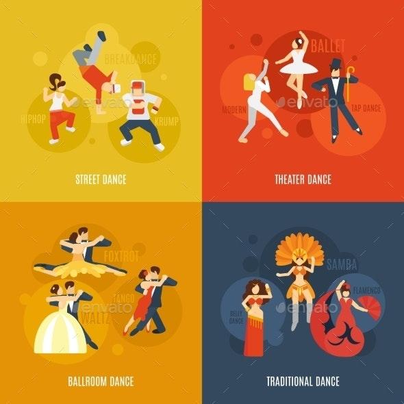 Dance Flat Set - Decorative Vectors