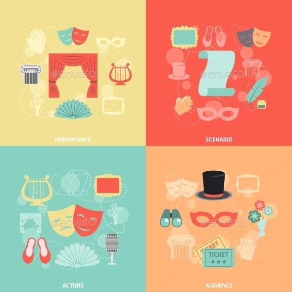 Theatre Icons Flat - Decorative Vectors