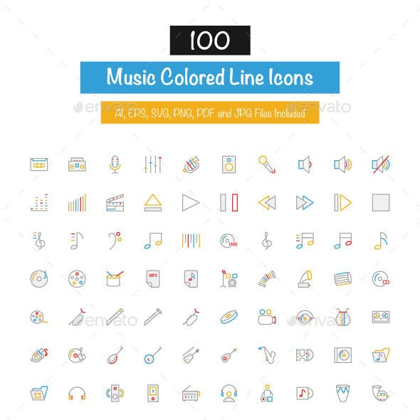 100 Music Colored Line Icons