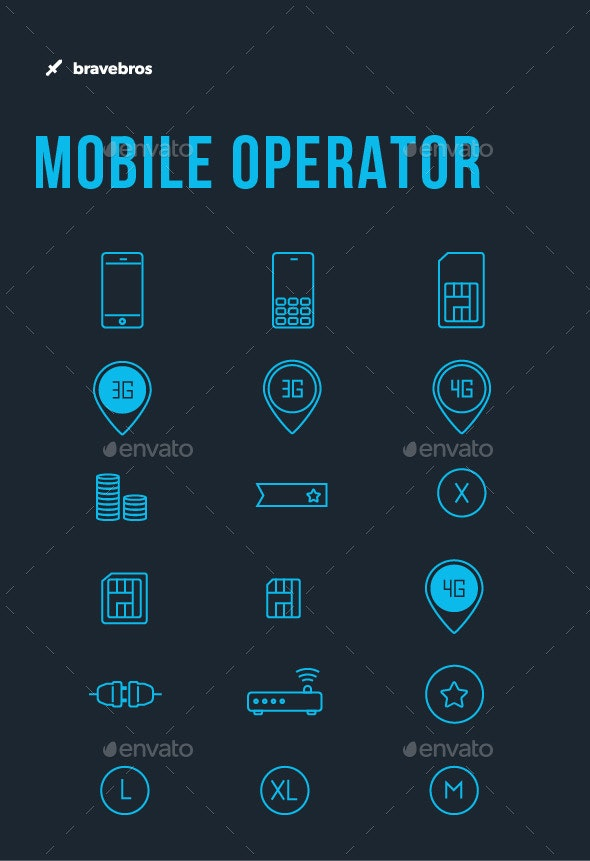 18 Mobile Operator Icons