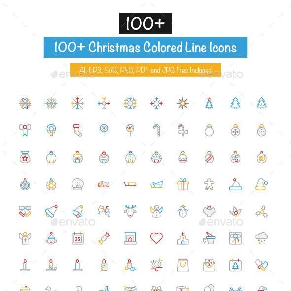 100+ Christmas Colored Line Icons