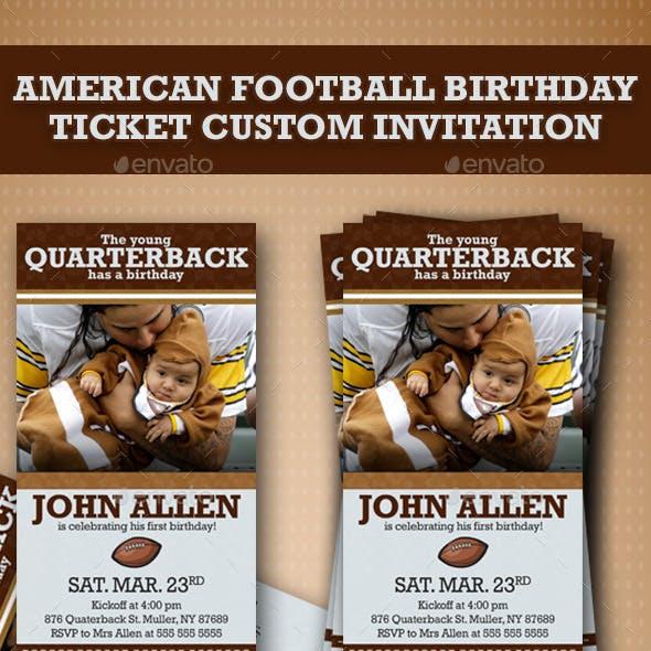 American Football Birthday Ticket Custom Invitation