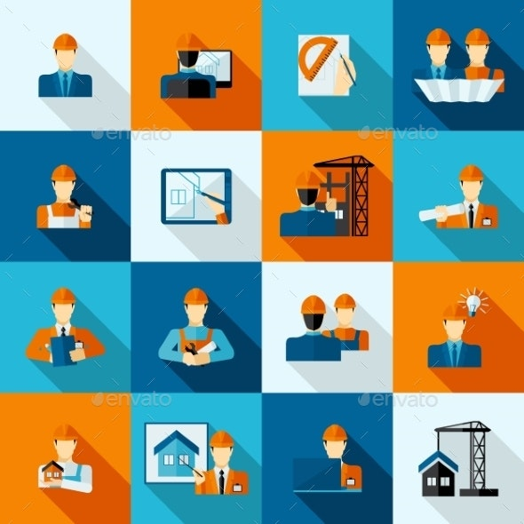 Engineer Icons Flat - Business Icons