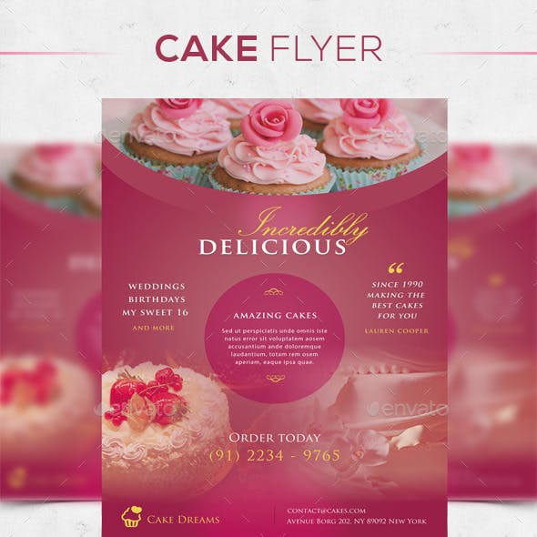 Cake Flyer in 4 Colors