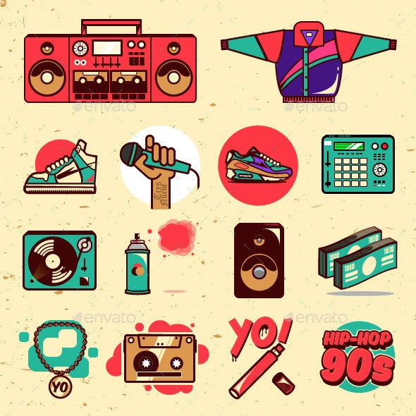Hip-hop 90s Illustrations Pack - Miscellaneous Vectors