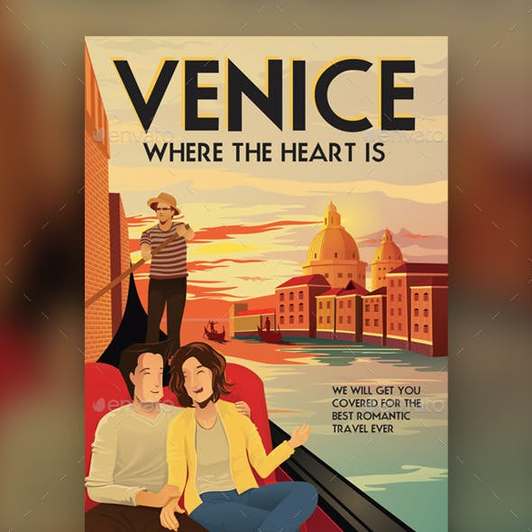 VENICE - Illustrated Travel Flyer & Poster