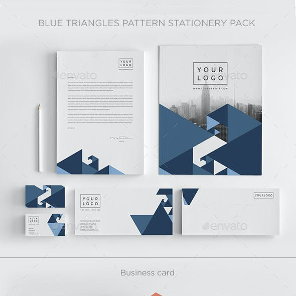 Blue Triangles Pattern Stationery